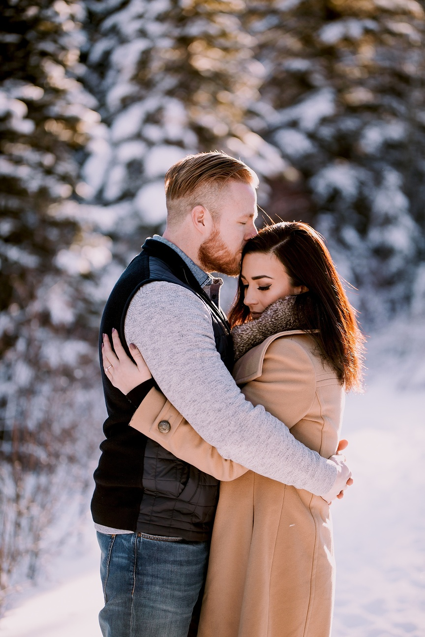 Canmore wedding photographer, winter engagement photos, kananaskis engagement photos